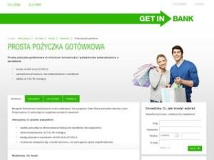 Strona pożyczki gotówkowej w Getin Banku